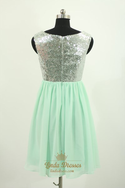 Simple Short Sleeveless Sequin Bodice Chiffon Bottom Homecoming Dress