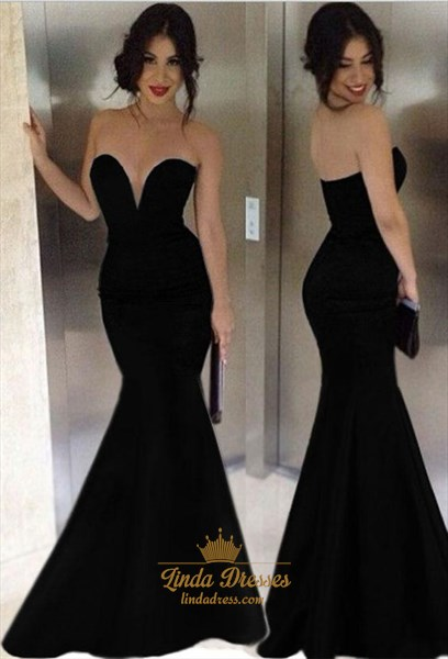 Simple Elegant Black Strapless V Neck Floor Length Mermaid Prom Gown