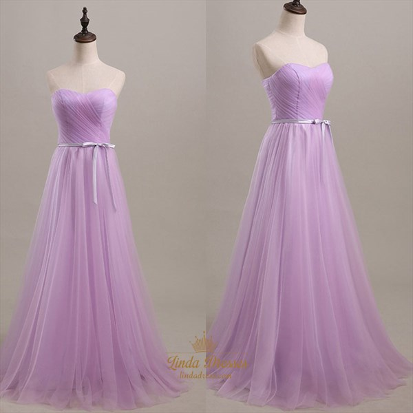 A-Line Simple Lavender Strapless Ruched Tulle Floor Length Prom Gown