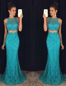 Elegant Lace Floor-Length Two-Piece Sleeveless Mermaid Evening Dress