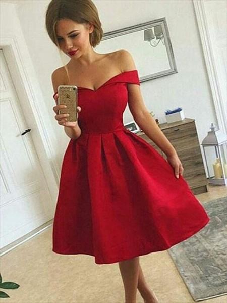 Lovely Simple Off The Shoulder V-Neck A-Line Short Homecoming Dress