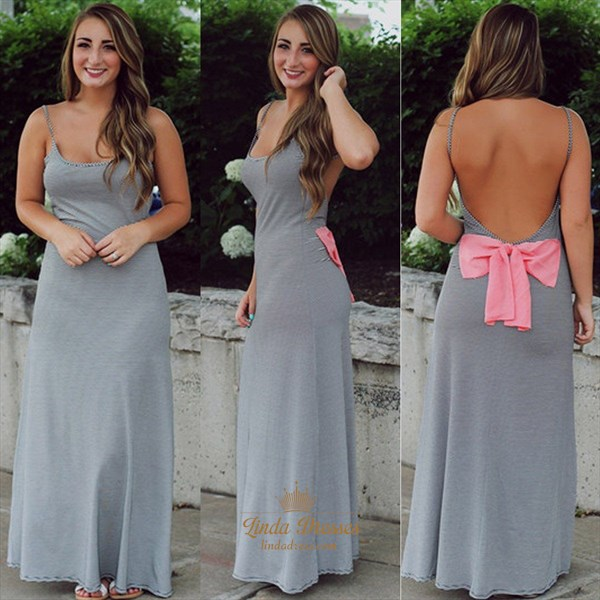 Simple Grey Spaghetti Strap Floor-Length Dress With Open Back And Bow