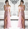 Two-Piece Off Shoulder Lace Bodice Ruched Chiffon Prom Dress With Slit