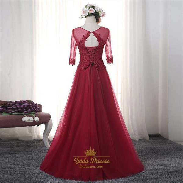 Burgundy Sheer Illusion Half Sleeve A-Line Tulle Prom Dress With Lace