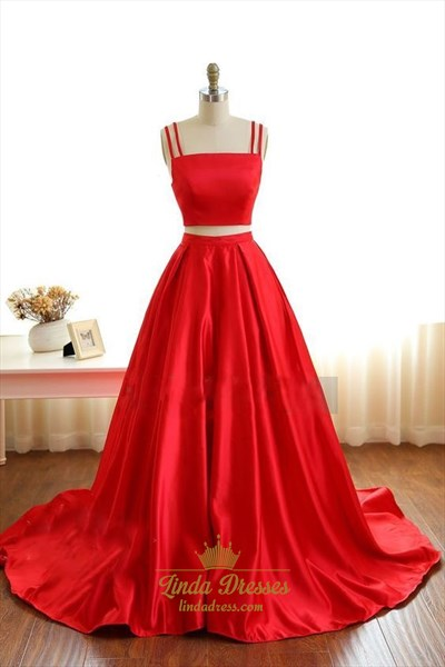 Red Simple Spaghetti Strap Two-Piece Satin A-Line Ball Gown Prom Dress