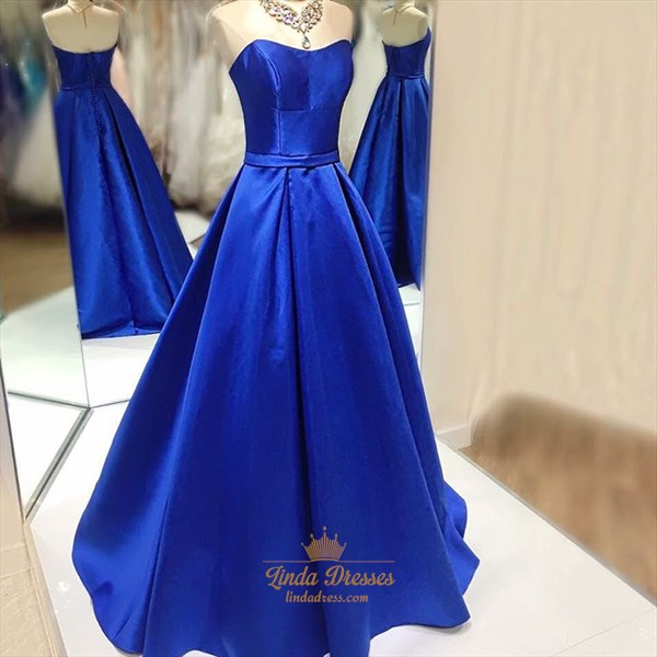 Royal Blue Simple Elegant Floor-Length Strapless A-Line Formal Dress