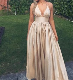 Simple Halter Deep V Neck Empire Waist A-Line Floor-Length Prom Dress