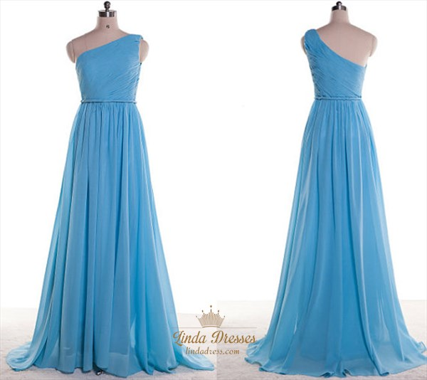 Sky Blue One Shoulder Ruched Bodice A-Line Chiffon Bridesmaid Dress