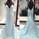Show details for Light Blue Sleeveless Deep V-Neck Long Prom Dress With Beaded Straps
