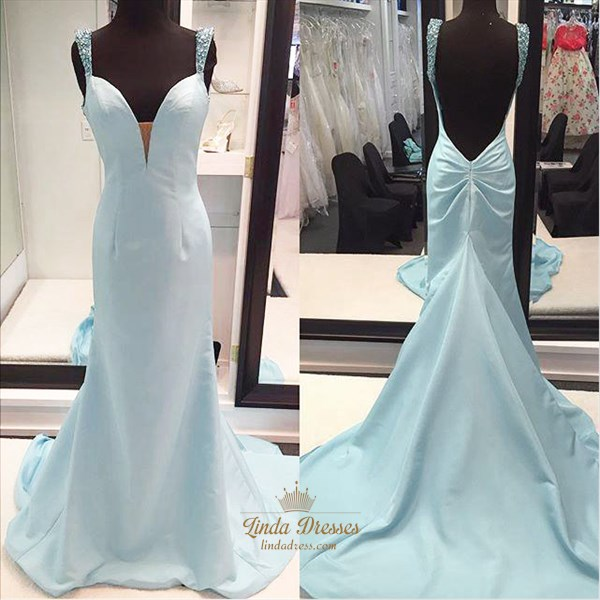 Light Blue Sleeveless Deep V-Neck Long Prom Dress With Beaded Straps