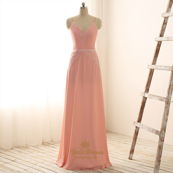 Spaghetti Strap A-Line Floor Length Chiffon Prom Dress With Appliques