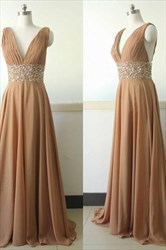 Sleeveless Deep V-Neck Beaded Empire Waist A-Line Chiffon Evening Gown