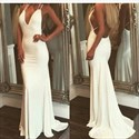 Show details for White Spaghetti Strap Plunging V Neck Open Back Mermaid Formal Dress