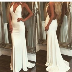 White Spaghetti Strap Plunging V Neck Open Back Mermaid Formal Dress