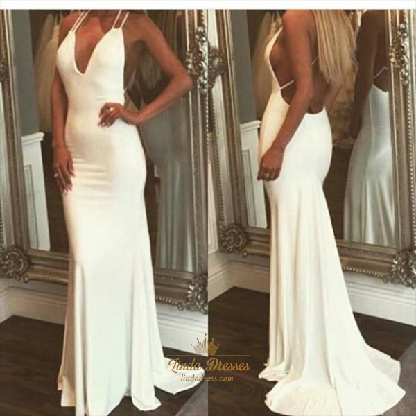 White Spaghetti Strap Plunging V Neck Open Back Mermaid Formal Dress