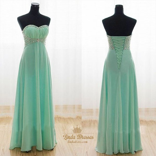Elegant A-Line Strapless Jeweled Chiffon Floor-Length Evening Dress