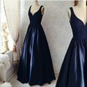 Show details for Navy Blue Sleeveless V-Neck A-Line Lace Bodice Satin Long Prom Dress