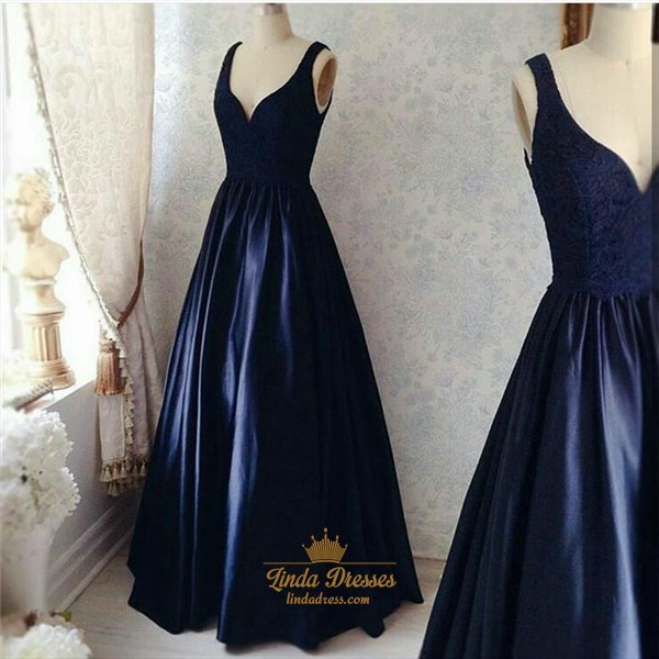 Navy Blue Sleeveless V-Neck A-Line Lace Bodice Satin Long Prom Dress