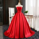 Elegant Simple Strapless Sleeveless Satin A-Line Ball Gown Prom Dress