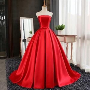 Elegant Simple Strapless Sleeveless Satin A-Line Ball Gown Prom Dress