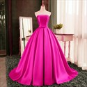 Show details for Elegant Simple Strapless Sleeveless Satin A-Line Ball Gown Prom Dress