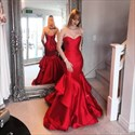 Trumpet/Mermaid Burgundy Strapless Floor-Length Ruffled Evening Dress