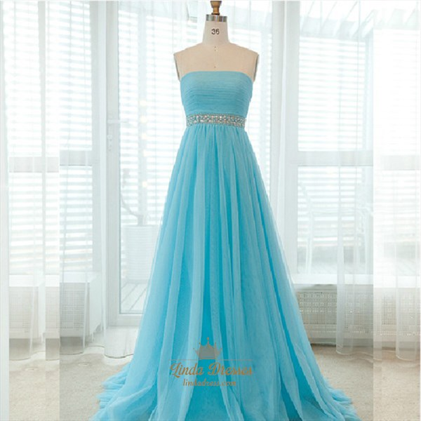 Sky Blue Strapless A-Line Beaded Tulle Prom Dress With Ruched Bodice