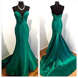 Elegant Emerald Green Plunging V Neck Strapless Mermaid Evening Dress
