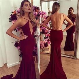 Backless Burgundy Spaghetti Strap Mermaid Evening Dress With Train