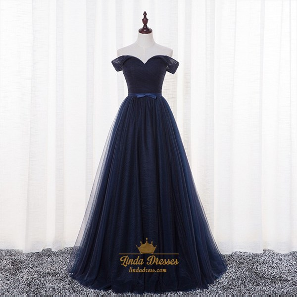 Navy Blue A-Line Off-The-Shoulder Floor-Length Ruched Tulle Prom Dress