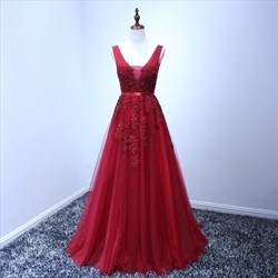 Burgundy Sleeveless Applique Tulle V-Neck A-Line Long Formal Dress