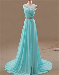 A-Line Floor-Length Beaded One Shoulder Ruched Top Chiffon Prom Dress