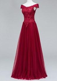 A-Line Off-The-Shoulder V-Neck Lace Bodice Tulle Skirt Long Prom Dress
