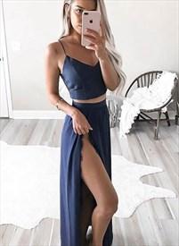 Navy Blue Spaghetti Strap V-Neck Two-Piece Long Dress With Side Split