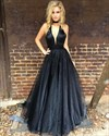 Elegant Black Deep V-Neck A-Line Sleeveless Floor Length Prom Dress