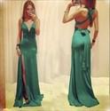 Sleeveless Empire Waist Deep V Neck Evening Dress With Side Split