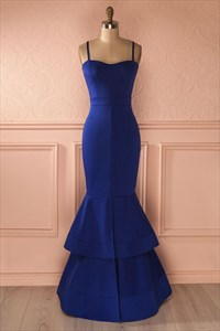 Trumpet/Mermaid Elegant Royal Blue Spaghetti Strap Long Formal Dress