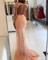 Show details for Illusion Lace Applique Long Sleeve Floor-Length Mermaid Formal Dress