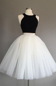 White And Black Sleeveless Two-Piece Homecoming Dress With Tulle Skirt