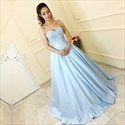 Light Blue Strapless Sweetheart Lace Bodice A-Line Satin Ball Gown