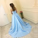 Show details for Light Blue Strapless Sweetheart Lace Bodice A-Line Satin Ball Gown