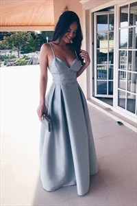 Light Blue Open Back Spaghetti Strap A-Line Floor-Length Formal Dress