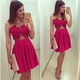 Sheer Neckline Sleeveless Lace Embellished A-Line Homecoming Dress
