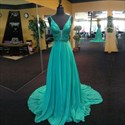 Show details for Turquoise Sleeveless V-Neck A-Line Long Prom Dress With Beaded Bodice