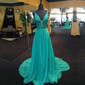 Turquoise Sleeveless V-Neck A-Line Long Prom Dress With Beaded Bodice