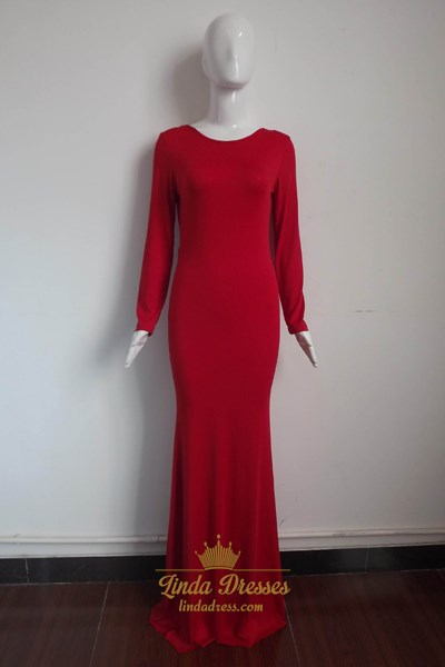 Simple Red Long Sleeve Floor-Length A-Line Prom Dress With Open Back