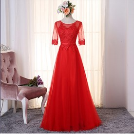 Illusion Red Half Sleeve A-Line Tulle Floor-Length Prom Gown With Lace