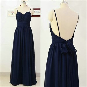 Spaghetti Strap Sweetheart Neck A-Line Long Prom Dress With Open Back