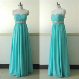 A-Line Strapless Sweetheart Beaded Empire Waist Chiffon Evening Dress