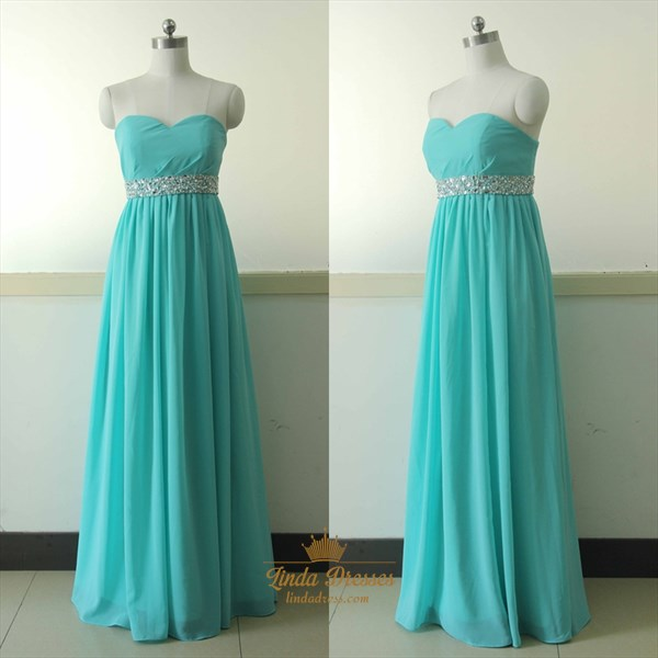 A-Line Strapless Sweetheart Beaded Empire Waist Chiffon Evening Dress